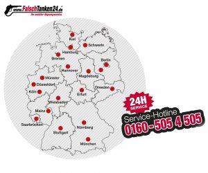 falsch getankt Deutschland Servicegebiet www.falschtanken24.de mit service Hotline 0160-5054505
